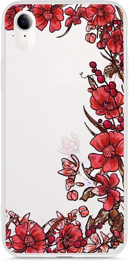 Flor rosa rosa Uposao Funda iPhone XR Carcasa Scrub Transparente