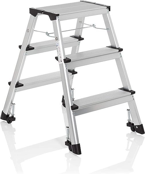 hjh OFFICE 830009 escalera plegable SOLID IV aluminio 3 peldaños escalera rodante con ruedas accesible de ambos lados: Amazon.es: Bricolaje y herramientas