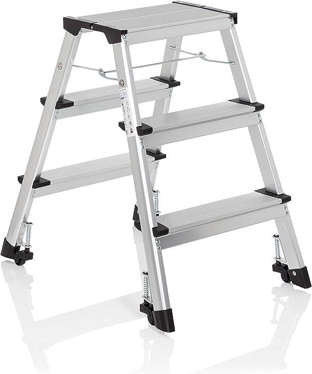 hjh OFFICE 830009 escalera plegable SOLID IV aluminio 3 peldaños ...