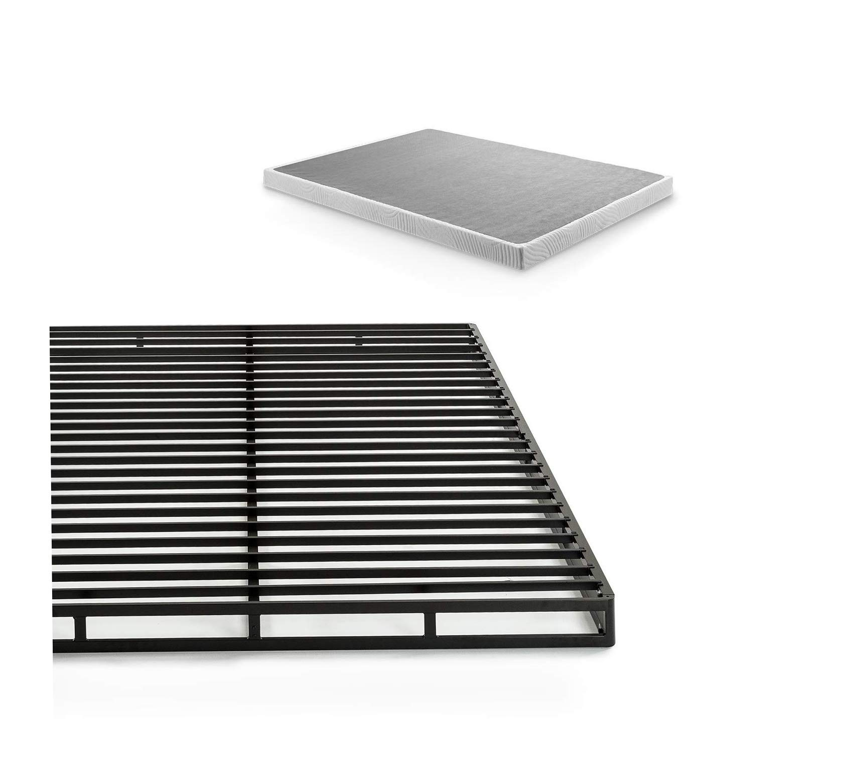 Wood & Style 4 Inch Low Profile Quick Lock Smart Box Spring/Mattress Foundation/Strong Steel Structure/Easy Assembly, Full Comfy Living Home Décor Furniture Heavy Duty by Wood & Style