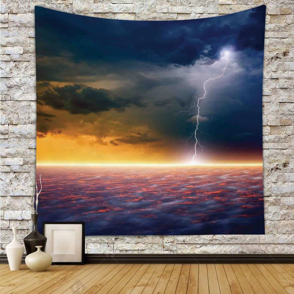 iPrint Polyester Tapestry Wall Hanging,Lake House Decor,Apocalyptic Sky View End of the World Majestic Mystic Sky Solar and Flames Image,Orange Blue,Wall Decor for Bedroom Living Room Dorm