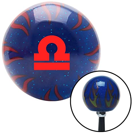 Red Libra Blue Flame Metal Flake with M16 x 1.5 Insert American Shifter 298010 Shift Knob