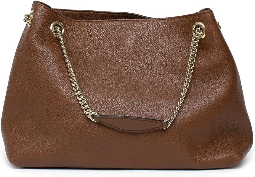 6a372f11bf9 Gucci Soho Leather Shoulder Bag Dark Brown Cuir Gold Chain Handbag New Italy