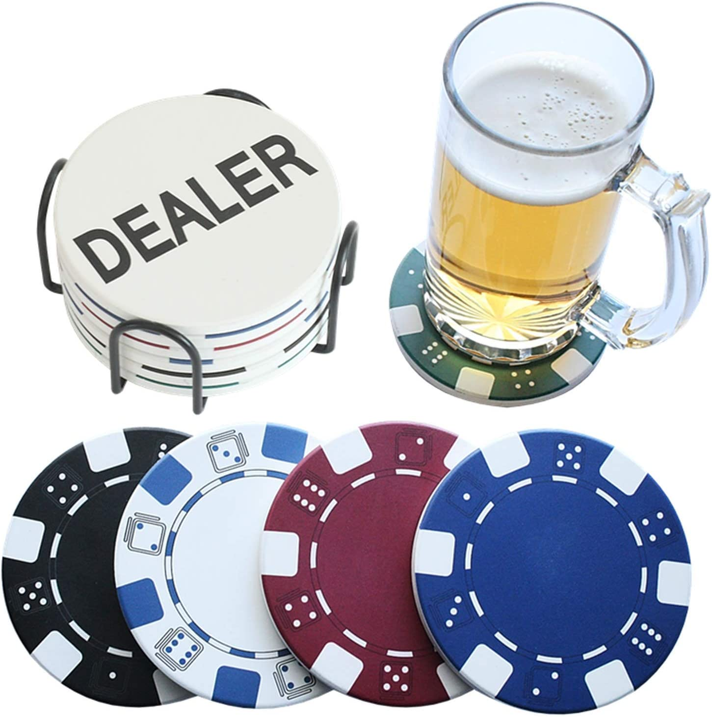 PANCHH Man Cave Coasters with Holder for Drinks & Manly Décor - Cool Kitchen Stuff, Best Housewarming & Birthday Gifts for Men, Guys, Male Best Friend – Casino Theme, Fun Poker Coasters- Home Bar