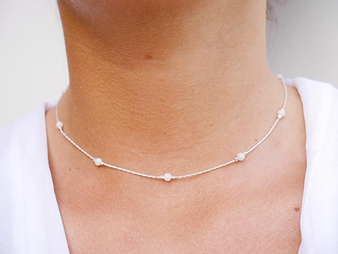 dddb680f22d Collier ras du cou argent - chaine serpent argent 925 - perles pierres de  lune blanc