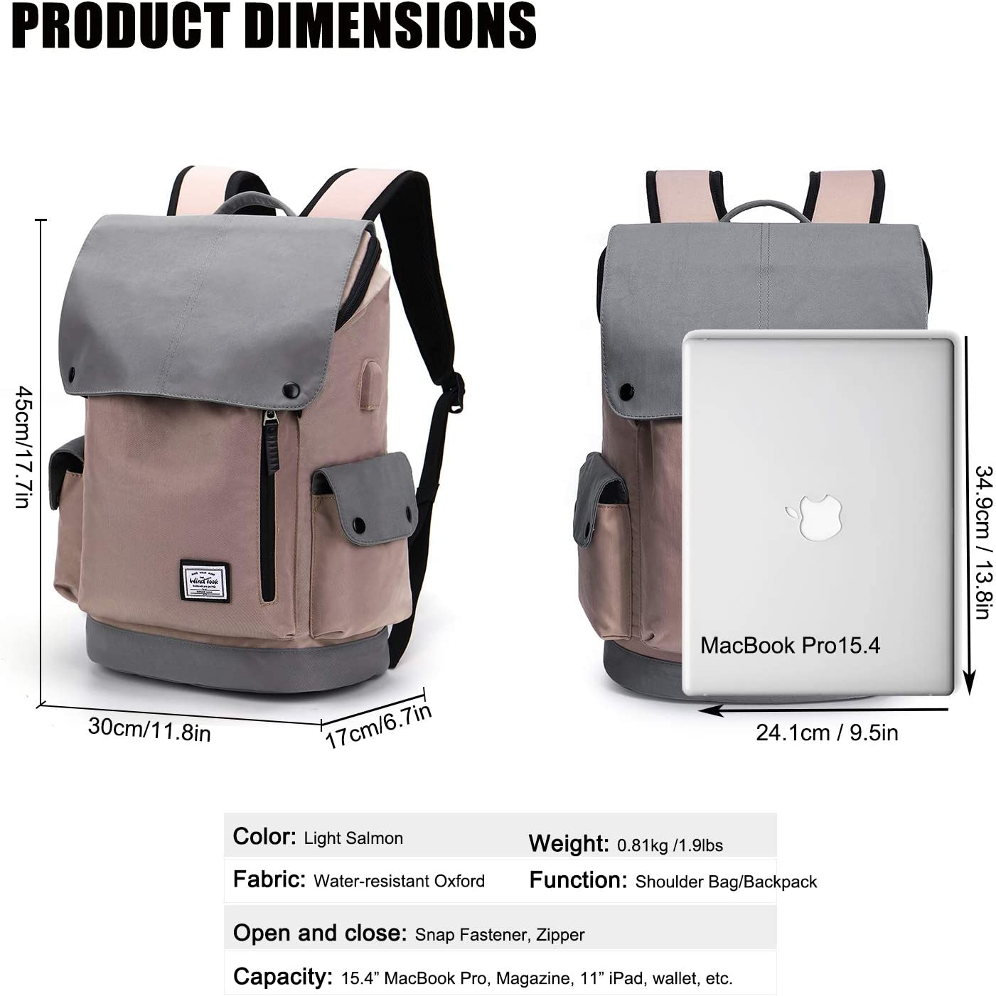 WindTook Laptop Backpack for Women and Men Travel Computer Bag School College Daypack with USB Charging Port Suits 15 Inch Notebook
