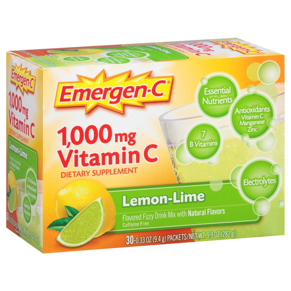 Emergen-C (30 Count, Lemon-Lime Flavor, 1 Month Supply) Dietary Supplement Fizzy Drink Mix with 1000mg Vitamin C, 0.33 Ounce Powder Packets, Caffeine Free