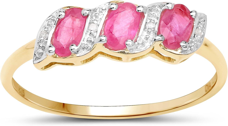 La Colección Diamante Rubi: 9ct Anillo Oro de la eternidad de rubíes y diamantes, Anillo de Compromiso Tamaño del anillo 6,8,9,10,11,12,13,15,16,17,19,20,21,22,24,25,26