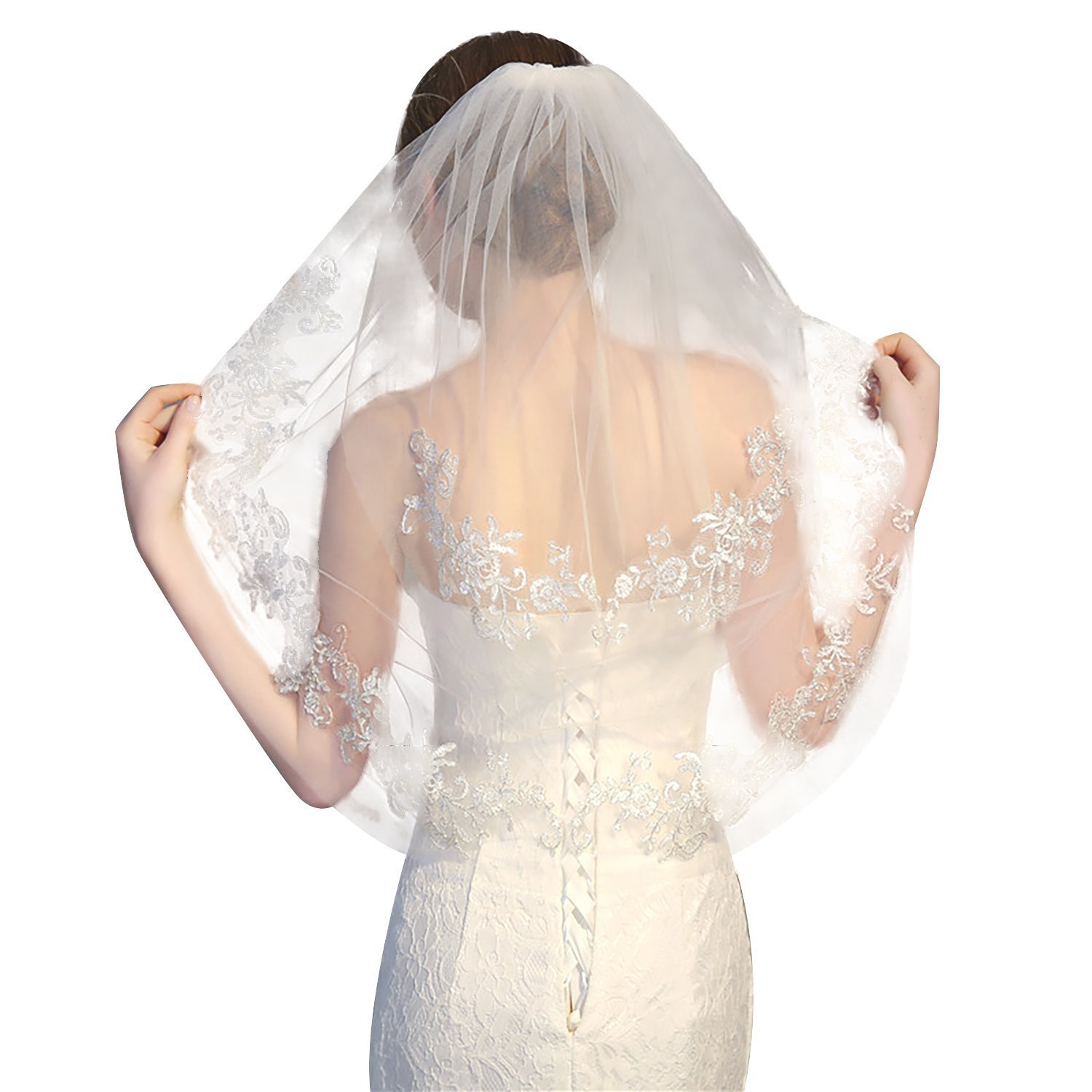 2 Tier Wedding Bridal Veil with Comb Ivory Lace Edge Fingertip Length Short (Ivory)