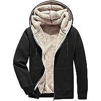 Flygo Men's Casual Winter Warm Thick Sherpa Lined Full-Zip Hooded Sweatshirt Jacket Coat