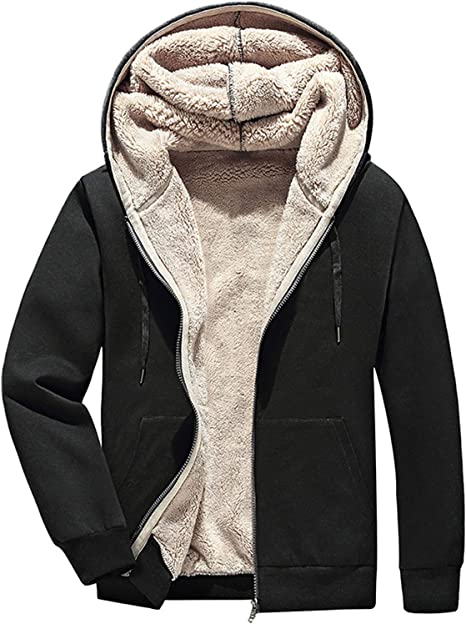 Gihuo Mens Winter Sherpa Lined Hoodie Zip Up Sweatshirt Warm Jacket