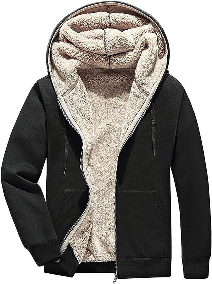 Men Winter Keep Warm Hooded Zipped Thick Wool Fleece Coat Cotton-padded Jacket 9