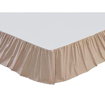 VHC Brands Farmhouse Ozark Ticking Stripe White Bed Skirt, King