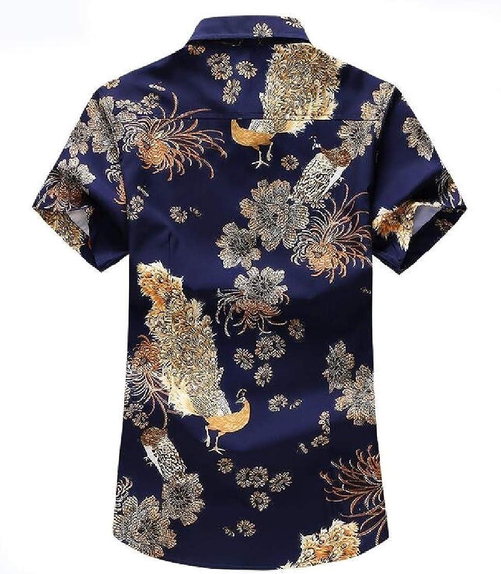 Fieer Mens Beach Floral Plus Size Short Sleeve Summer Tshirt Shirt
