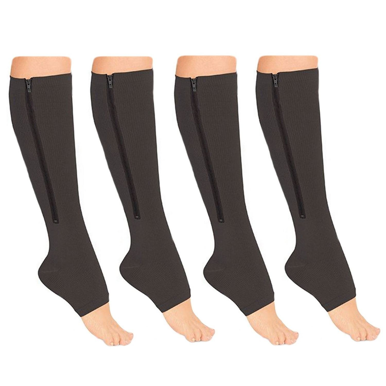9a4db9d2c0 Amazon.com: Medicee Open Toe 15-20 Mmhg Zipper Compression Leg Ankle Calf  Circulation Swelling Relief Stocking, Black, Large/X-Large, 5 Ounce: Health  ...