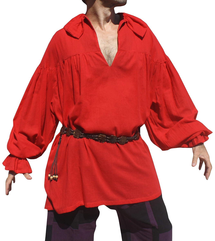 Saloo Red RaanPahMuang Renaissance Courtesans Wave Collar Long Sleeve Shirt Cotton Pirate