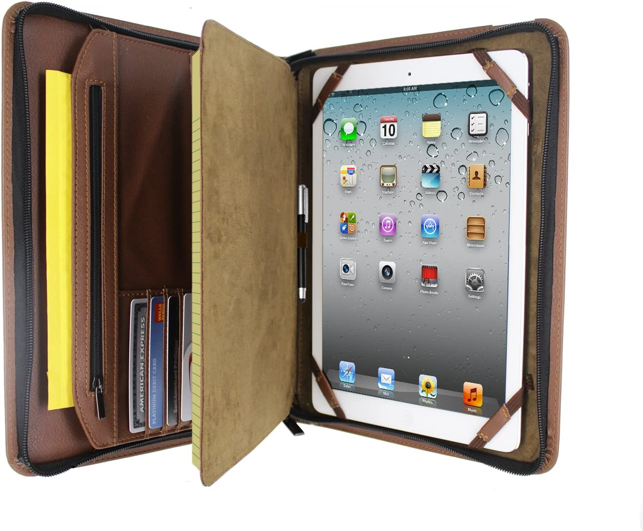 KHOMO Brown Executive PadFolio Case with Notepad Holder and Pockets for iPad 2,3,4, iPad Air, iPad Air 2 and iPad Pro 9.7 inch