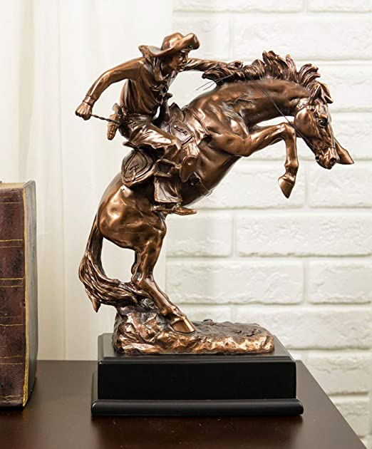 Large Rustic Western Rodeo Cowboy With Bucking Horse Statue With Black Base