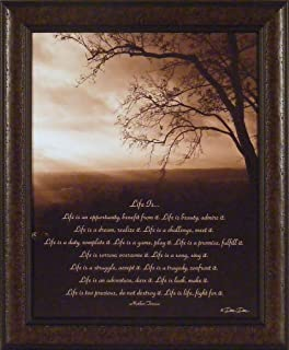 Life Is By Dee Dee 20x24 Mother Teresa Inspirational Quote Sepia Tree Sky  Framed Art Print