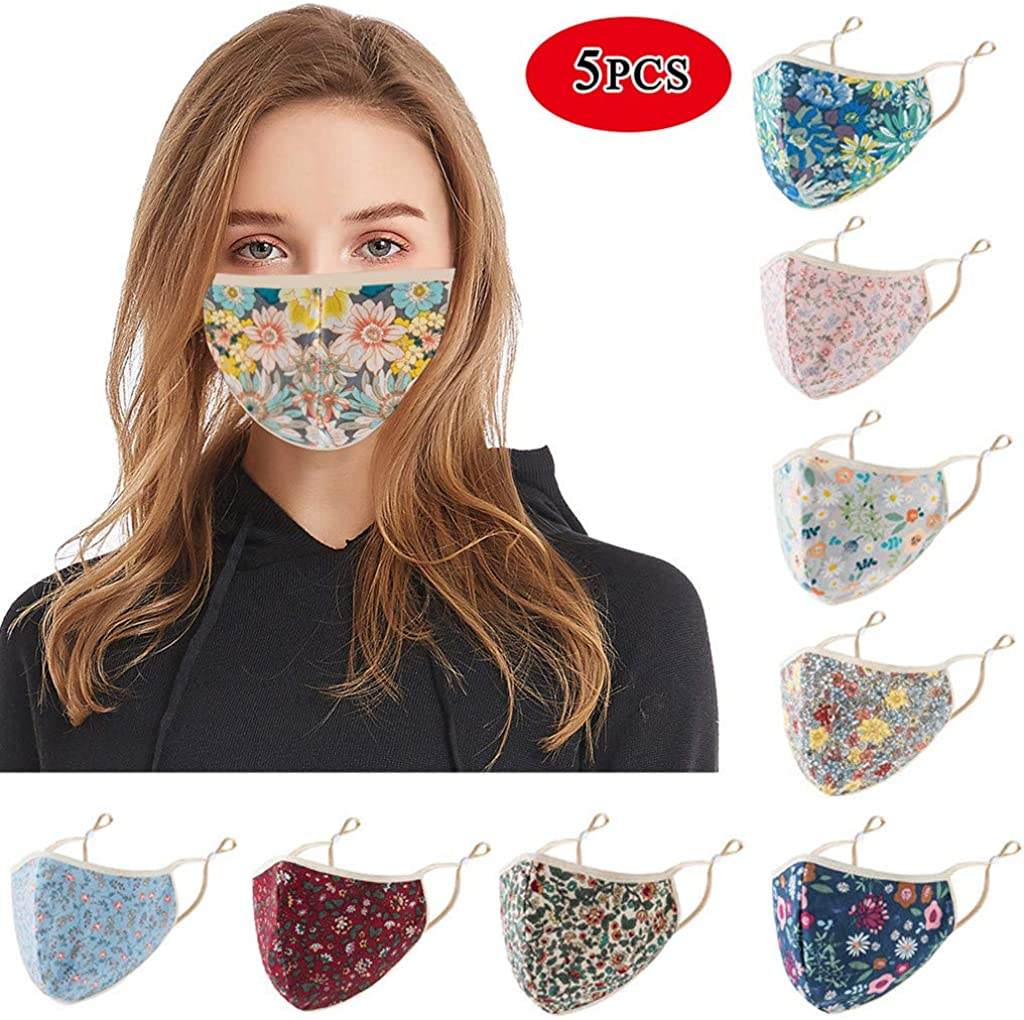 SHUBHU 5PCS Adults Reusable Printed Adjustable Face Bandanas Cover Anti-Dust PM2.5 Breathable Mouth Protection Outdoors