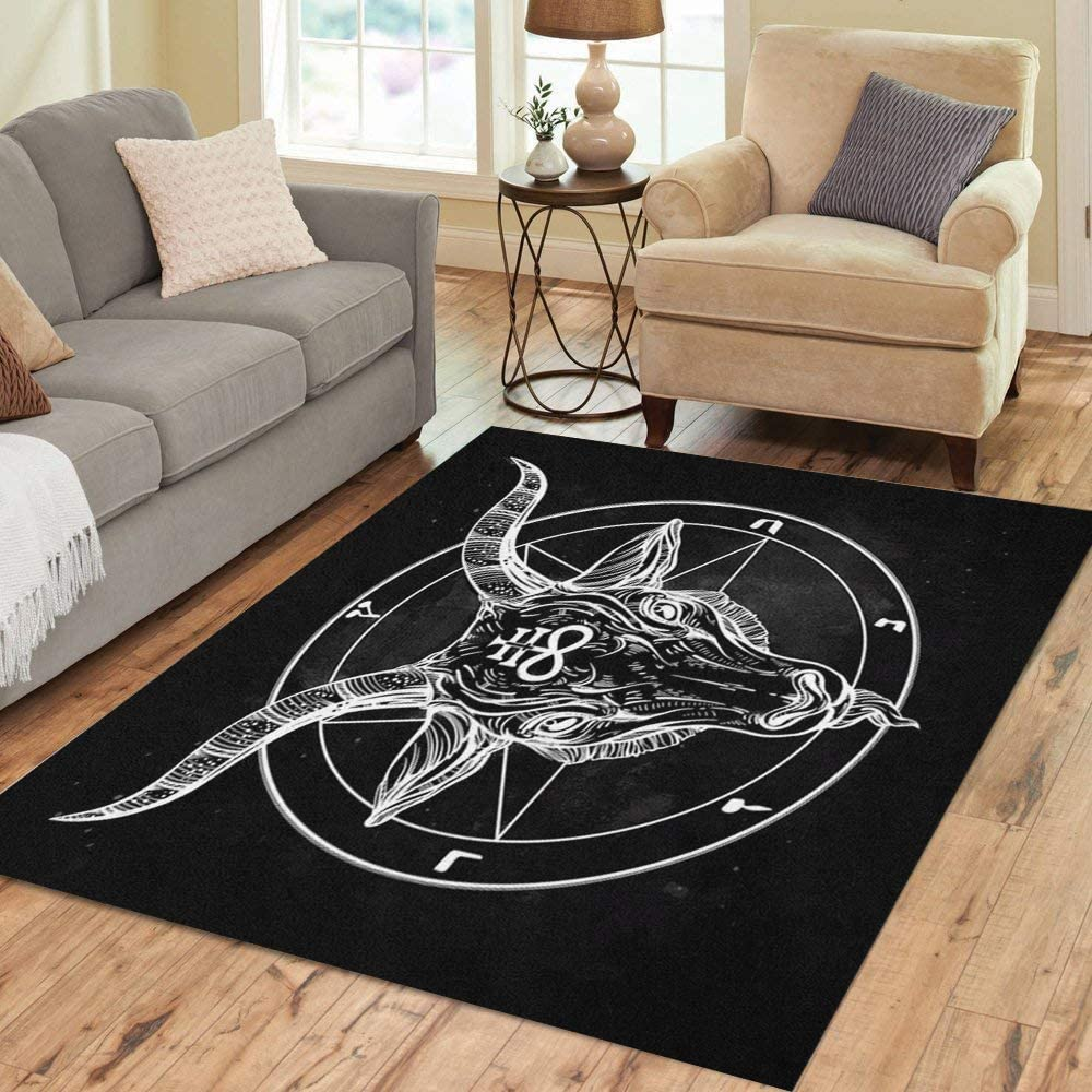 Pinbeam Area Rug Pentagram Demon Baphomet In a popularity Bina Satanic Head Goat Houston Mall