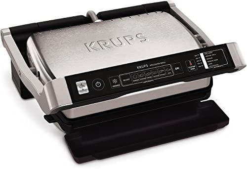 KRUPS Precision Electric Grill Contact Grill with Removable Dishwasher Safe Nonstick Plate, Silver