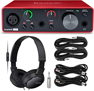 Focusrite Scarlett Solo USB Audio Interface (3nd Generation) + Professional Extra Bass Monitoring Headphones, Cables and Deluxe Accessories