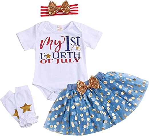 US 3pcs Infant Baby Girl Fourth of July Romper Bow Skirt Headband Fashion Outfit