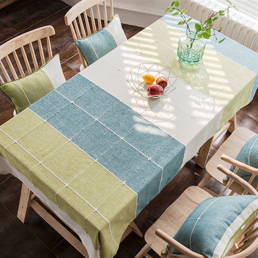 "Liveinu Handmade Mediterranean Style Table Cloth Rectangular Tablecloth with Embroidery Vintage Furniture Protective Cover Tapestry Modern Decortive Tablecloth 50""x70"" Blue Green Beige"