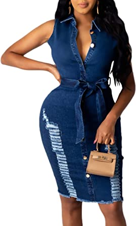 Women's Juniors Sleeveless Mini Bodycon Denim Jean Dress