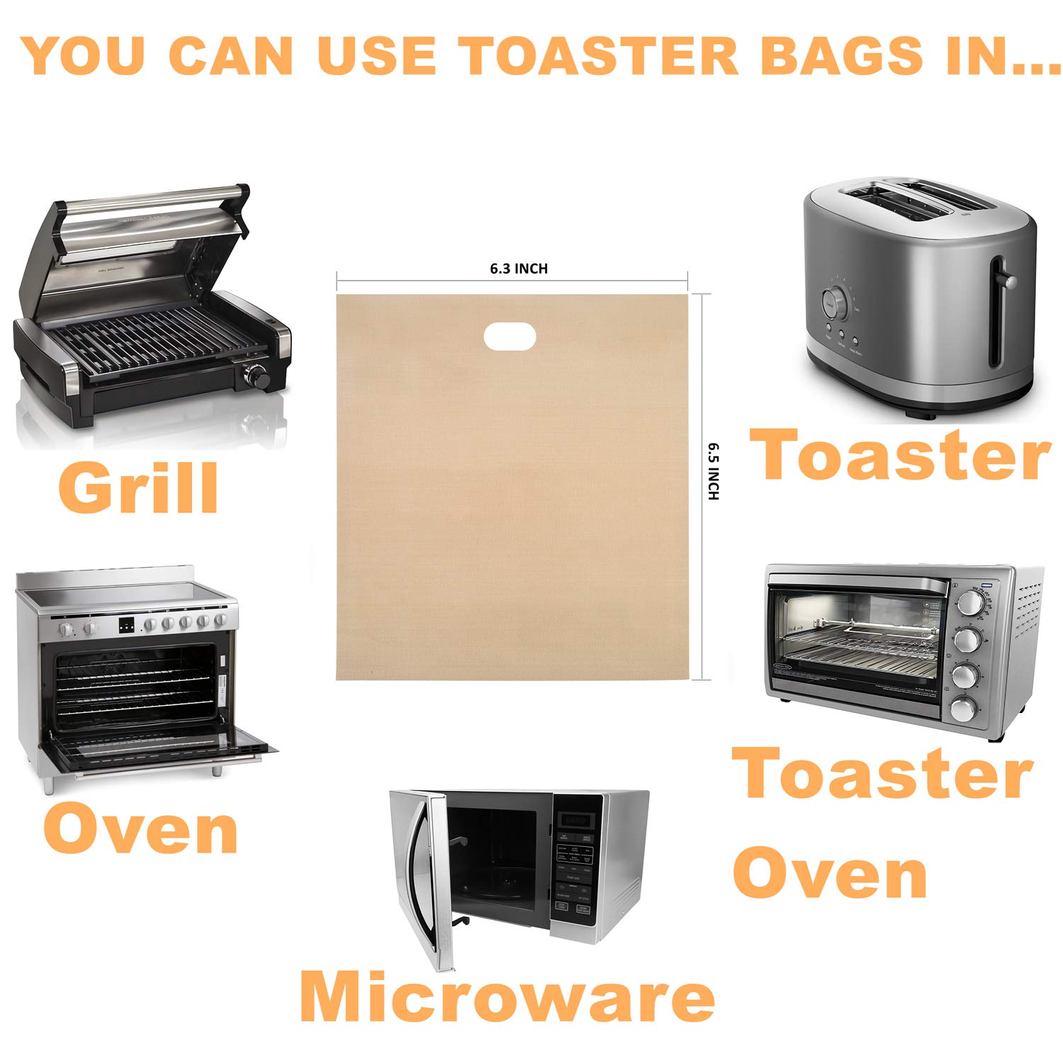 Non Stick Toaster Grilled Cheese Bags Reusable and Heat Resistant Easy to Clean, Gluten Free, FDA Approved, Perfect for Sandwiches, Chicken, Nuggets, Panini and Garlic Toasts - 10 Pcs by Famebird (Image #4)