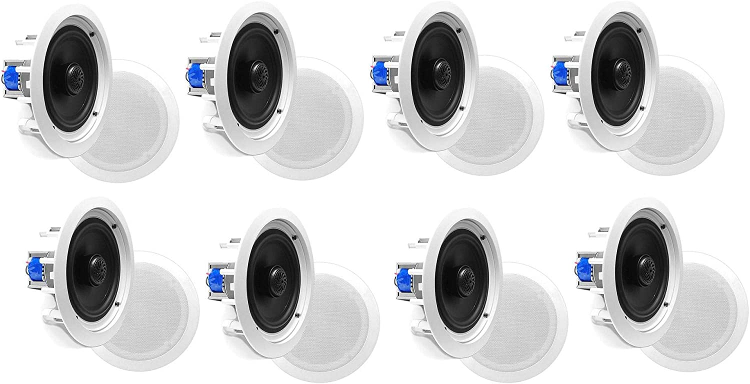 Pyle PDIC60T Home 6.5 Inch 250W 2 Way in Wall in Ceiling Stereo Speaker (8 Pack)
