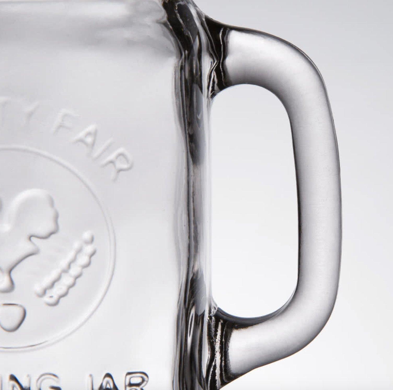 200/CASE 16 Oz Glass Mason COUNTY FAIR Canning Drinking Jar with Handle Wedding (PLUS 4 PCS FREE)
