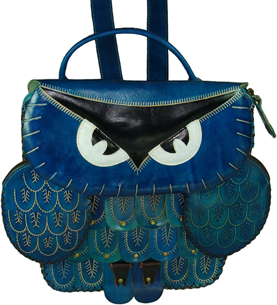 Genuine Leather Messenger Bag Black Owl Face Cover Unique Holiday Gift Choice