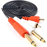 SiYear 6.35mm Dual 1/4 inch TS Mono plug to Dual RCA male AUX Audio Convertor Adapter Cable, For Mic Mixer Amplifie,Mixer Amplifi etc(1.8M/6FT)