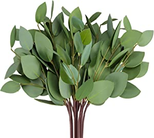 Felice Arts Artificial Eucalyptus Leaves Faux Eucalyptus Stems Artificial Greenery Stems for Wedding Bridal Bouquet Home Party Holiday Greenery Decor 10 Pack