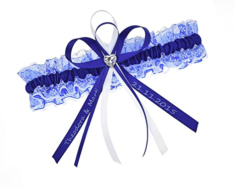 low priced ad79a 2a50e Exklusives blaues Strumpfband - INDIVIDUELL BESCHRIFTET -