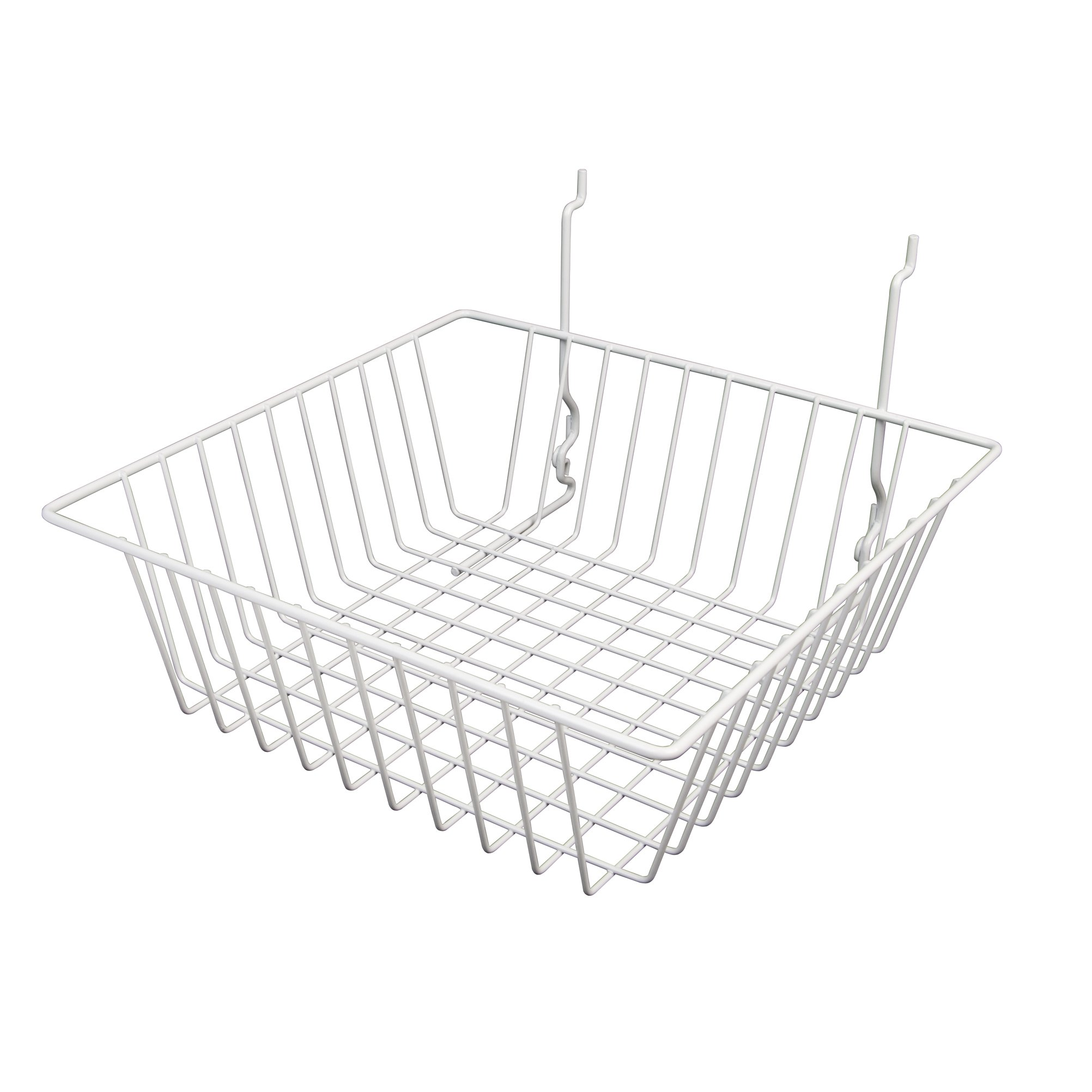 Only Garment Racks #5612WHITE (Pack of 6) White Wire Baskets for Grid wall, Slat wall or Pegboard - Merchandiser Baskets, White Wire Basket 12'' L x 12'' D x 4'' H (Set of 6) (Pack of 6)