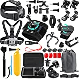 SmilePowo 48-in-1 Accessories Kit for GoPro Hero 9 8 Max 7 6 5 4 3 3+ 2 1 Black GoPro 2018 Session Fusion Silver White Insta3