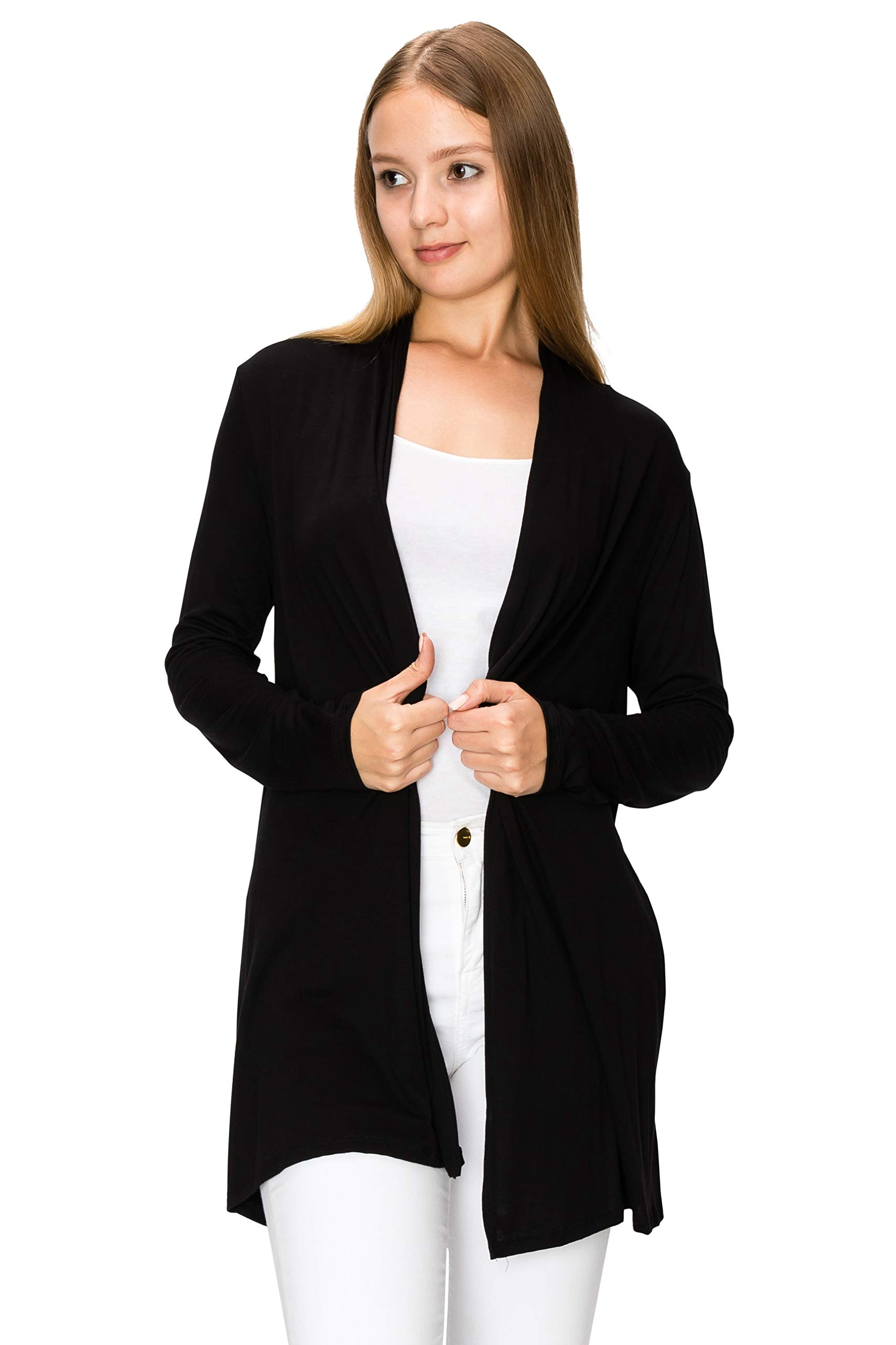 EttelLut Long Open Front Lightweight Soft Knit L/Sleeve Cardigan Sweaters Regular and Plus Size Black XL