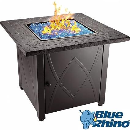 Amazon Com Blue Rhino Outdoor Propane Gas Fire Pit Blue Fireglass
