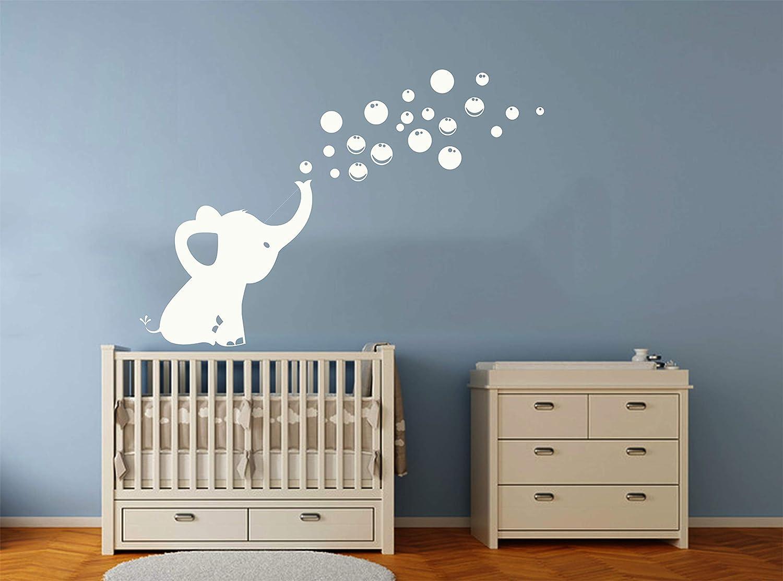 Sayala Wandtattoo 1 Elefanten Bubbles Wandsticker Wandaufkleber Wandbord/üre Kinderzimmer//Babyzimmer mit Elefant Kinderzimmer Zoo Tiere Wandsticker Grau