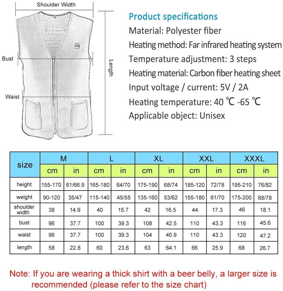 CYQAQ Chaleco Calefactor eléctrico Inteligente Resistente al Agua ...
