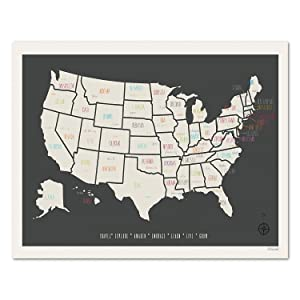 USA Travel Map Wall Art Print, Personalized Travel Map, 05x07 Inch Print, Kid's USA Map, Children's Room Decor, Gender Neutral Nursery, Travel Nursery Decor, Customized Wall Map
