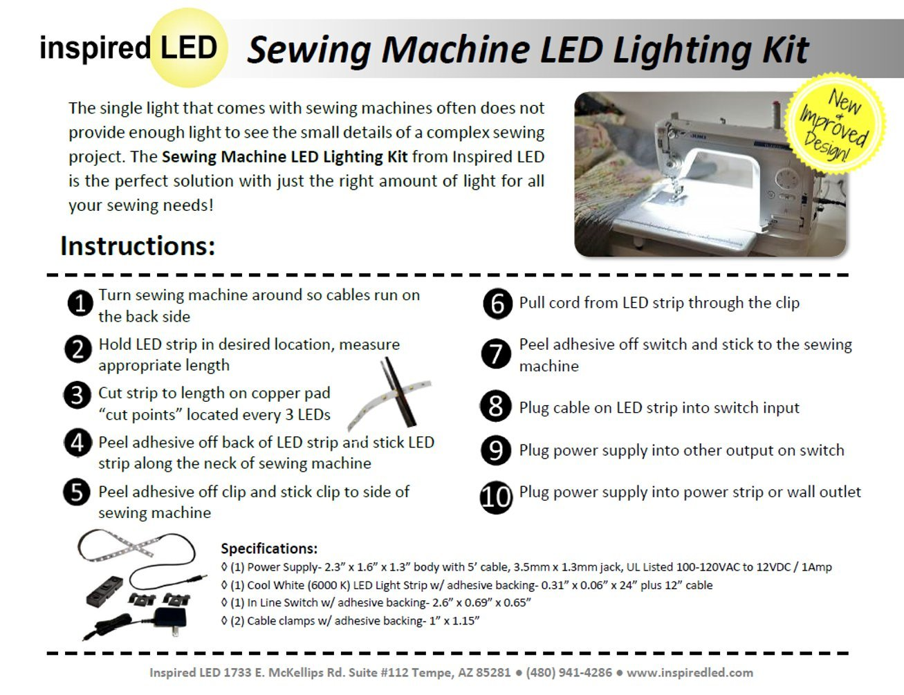 Inspired Led Sewing Machine Lighting Deluxe Kit Necchi Supernova Threading Diagram Vintage Includes Expansion For 2 Machines Perfect Long Arm