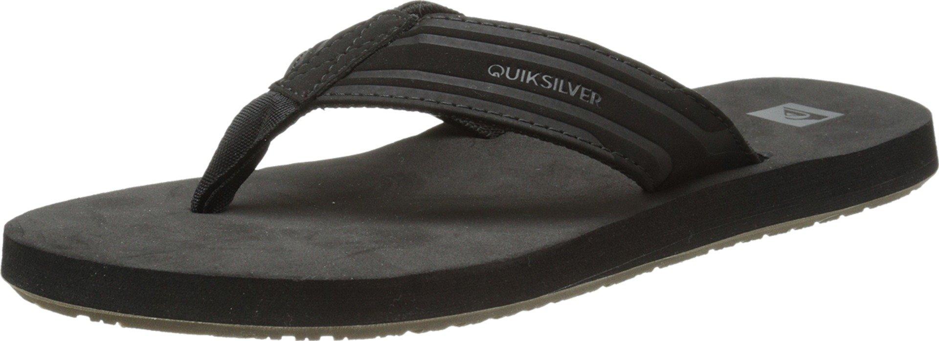 Quiksilver Men's Monkey Wrench 3 Point Sandal, Black/Black/Brown, 9 M US
