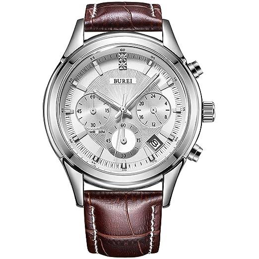 BUREI cronógrafo Reloj de Cuarzo analógico Reloj con Correa de Cuero de Cristal Scratch Resistente (
