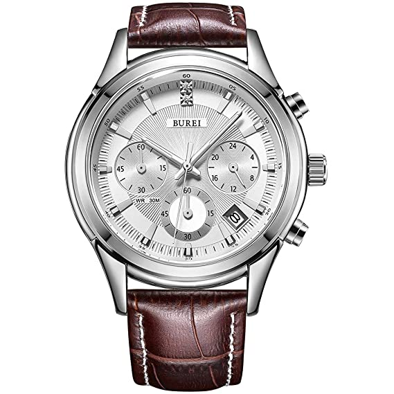 d145e8b50f3e05 BUREI Cronografo quadrante bianco orologio da polso al quarzo con  resistente ai graffi minerale di cristallo lente in pelle marrone  cinturino: Amazon.it: ...