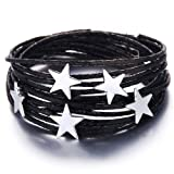 17mile Black Star Wrap Bracelet Multi-Layer Leather Bracelet Wrap Cuff Bobo Bangle - with Alloy Magnetic Clasp Handmade Jewelry for Women,Girl Gift