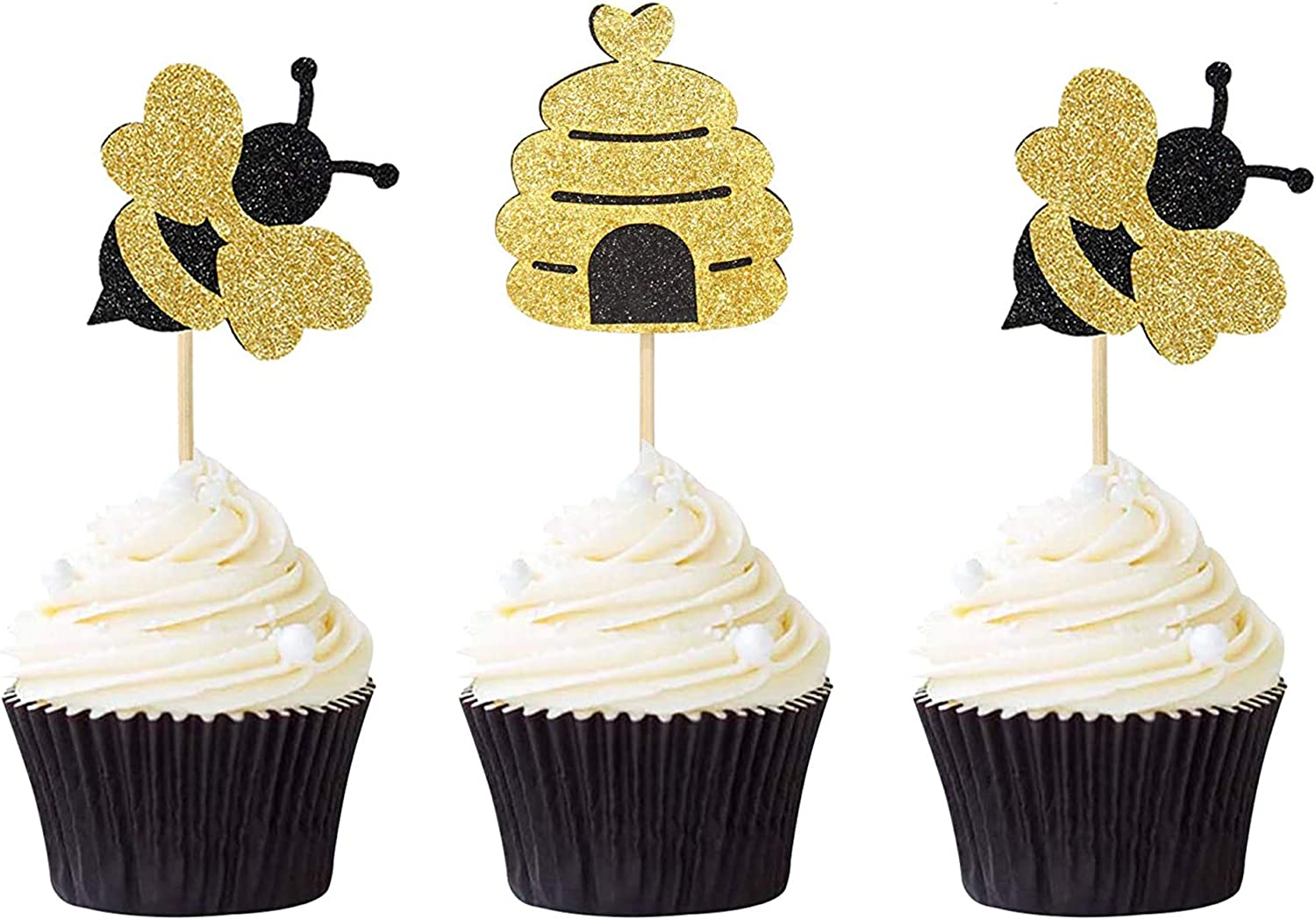 24PCS Glitter Bumble Bee Cake Toppers Honeycomb Cupcake Toppers For Baby Shower Birthday Gender Reveal Party Decor